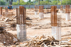 Construction site foundation pillars and columns Royalty Free Stock Images