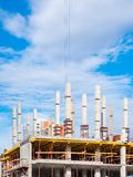 Construction site with a frame on a blue sky royalty free stock photography