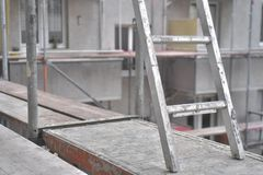 Construction Site - framework - planks and ladder stock photos
