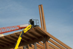 Construction site: glued laminated timber Stock Photo