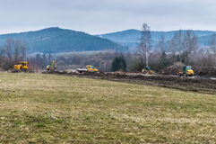 Construction site going parallel to the countryside Royalty Free Stock Photos