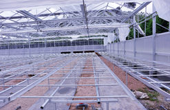 Construction site of greenhouse Stock Photos
