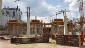 Construction site of the hall with reinforced concrete pillars royalty free stock photos