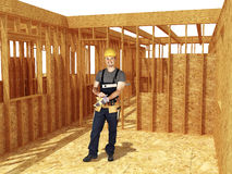 Construction site and handyman Stock Photo