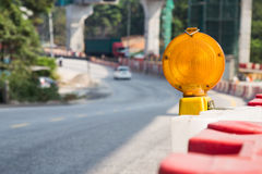 Construction site hazard warning light.  royalty free stock images