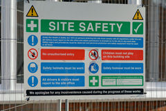 Construction site health and safety signs. Attached to fence Royalty Free Stock Images