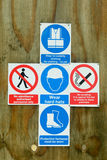 Construction site health and safety signs. Various construction site health and safety signs Royalty Free Stock Photography
