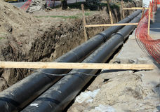 Construction site with heating system pipes Stock Photography