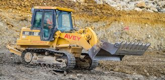 Construction Site with heavy excavating machinery Stock Images