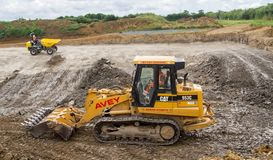 Construction Site with heavy excavating machinery Royalty Free Stock Photos