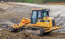 Construction Site with heavy excavating machinery Royalty Free Stock Photography