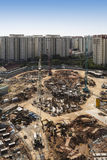 Construction site. High angle shot of a construction site with housing development Royalty Free Stock Image