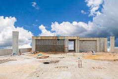 Free Construction Site High Building And Sky Background Royalty Free Stock Images - 160123679