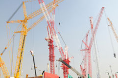 Construction site high cranes Royalty Free Stock Image