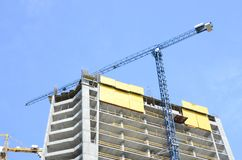 Construction site. High rise multi storey buildings under construction royalty free stock photo