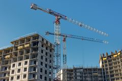 Construction site, high-rise multi-storey buildings under construction stock photo