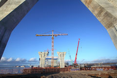 Construction site of a highway and bridge. Royalty Free Stock Photography