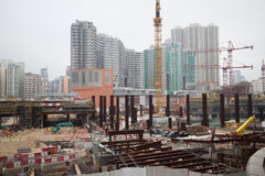 Construction Site of Hong Kong Express Rail. The Hong Kong Section of the Express Rail Link runs from the terminus in West Kowloon, heading north to the Shenzhen Stock Photography