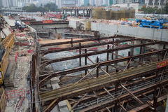 Construction Site of Hong Kong Express Rail. The Hong Kong Section of the Express Rail Link runs from the terminus in West Kowloon, heading north to the Shenzhen Royalty Free Stock Image