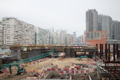 Construction Site of Hong Kong Express Rail. The Hong Kong Section of the Express Rail Link runs from the terminus in West Kowloon, heading north to the Shenzhen Stock Photo
