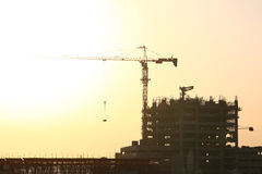 Construction Site With Huge Crane Stock Photo