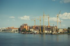 Construction site of modern residential quarter Royalty Free Stock Photos