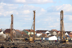 Construction site with hydraulic drilling machines and wor Stock Image