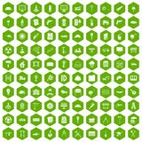 100 construction site icons hexagon green. 100 construction site icons set in green hexagon isolated vector illustration Royalty Free Stock Images