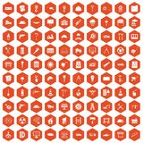100 construction site icons hexagon orange. 100 construction site icons set in orange hexagon isolated vector illustration Stock Photo