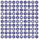 100 construction site icons hexagon purple. 100 construction site icons set in purple hexagon isolated vector illustration Royalty Free Stock Images