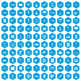 100 construction site icons set blue. 100 construction site icons set in blue hexagon isolated vector illustration Stock Images