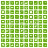 100 construction site icons set grunge green. 100 construction site icons set in grunge style green color isolated on white background vector illustration Royalty Free Stock Images