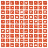 100 construction site icons set grunge orange. 100 construction site icons set in grunge style orange color isolated on white background vector illustration Stock Image