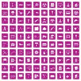 100 construction site icons set grunge pink. 100 construction site icons set in grunge style pink color isolated on white background vector illustration Royalty Free Stock Photos
