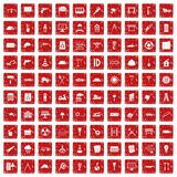 100 construction site icons set grunge red. 100 construction site icons set in grunge style red color isolated on white background vector illustration royalty free illustration