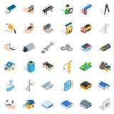 Construction site icons set, isometric style Royalty Free Stock Photos