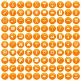 100 construction site icons set orange. 100 construction site icons set in orange circle isolated vector illustration Royalty Free Stock Photography