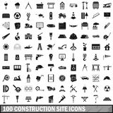 100 construction site icons set, simple style. 100 construction site icons set in simple style for any design vector illustration Stock Photos