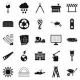 Construction site icons set, simple style. Construction site icons set. Simple set of 25 construction site vector icons for web isolated on white background Stock Photo