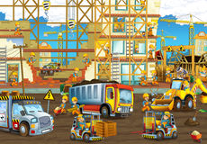 On the construction site - illustration for the children. Beautiful and colorful construction site illustration Stock Photos