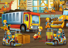 On the construction site - illustration for the children Royalty Free Stock Images