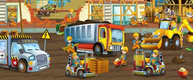 On the construction site - illustration for the children Royalty Free Stock Image