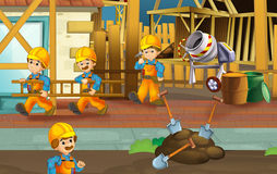 On the construction site - illustration for the children Stock Images