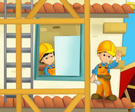 On the construction site - illustration for the children Stock Image