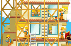 On the construction site - illustration for the children Royalty Free Stock Photo