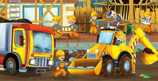 On the construction site - illustration for the children Royalty Free Stock Photography