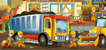 On the construction site - illustration for the children Stock Photography