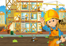 On the construction site - illustration for the children. The happy and colorful illustration for the children