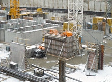 Construction Site In Winter Royalty Free Stock Photography