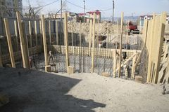 Construction site, installation of piles Royalty Free Stock Photos